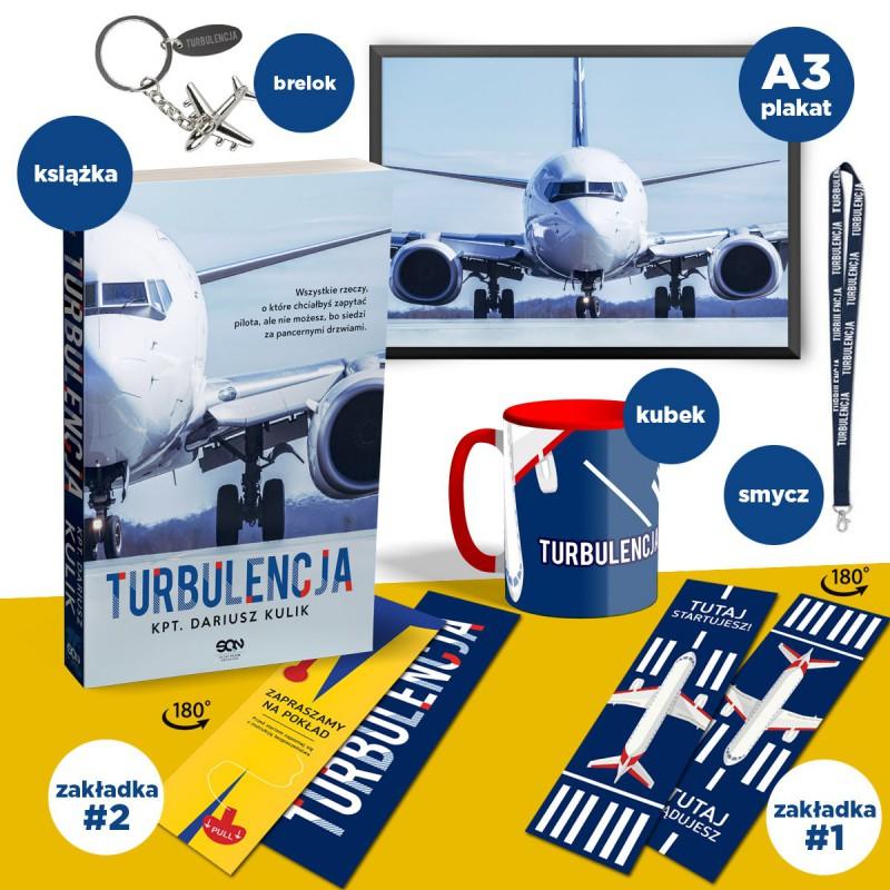 Zdjęcie bookboxa, czyli pakietu z gadżetami do książki Turbulencja