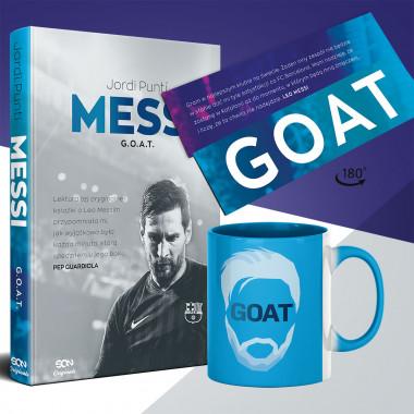 Zdjęcie pakietu Messi. G.O.A.T. + zakładka + kubek w księgarni SQN Store