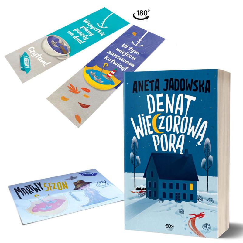 Zdjęcie pakietu Denat wieczorową porą + Zakładka Martwy sezon + Naklejki Martwy sezon w księgarni SQN Store